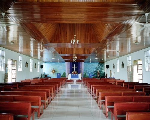 San Ramon, Costa Rica, Church, Religion, building, cross, christian, christianity, 6x7 film, kodak
