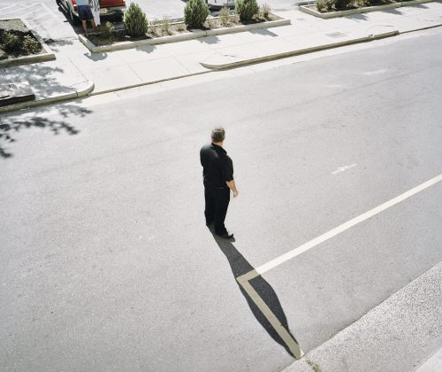 Man, atlantic city, figure, shadow, middle, road, street, strange, film, kodak, 6x7, color, negative