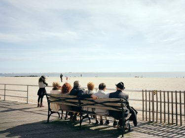 brighton beach, brooklyn, new york, bench, elderly, classic, boardwalk, beach, railing, blue sky, 6x7, kodak, film