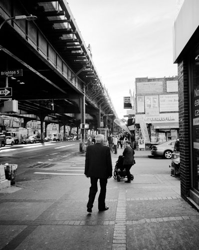 Brighton Beach, Street, New York, Brooklyn, Man, suit, russian, black and white, walking, train, tracks