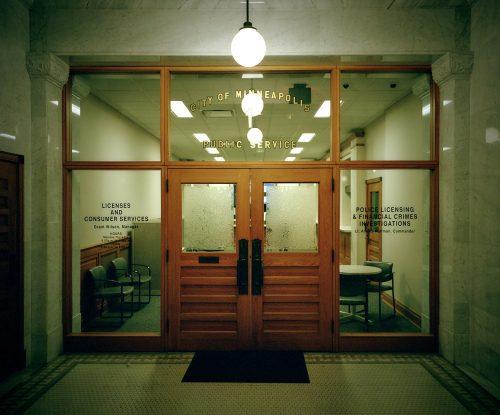 Minneapolis, minnesota, office, city hall, green, 6x7, color, kodak, film, travel, lights, america, americana
