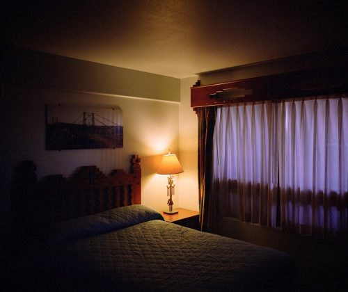 Hotel, cameron, arizona, desert, grand canyon, light, night, spooky, 6x7, film, kodak, room, indoors, colorful