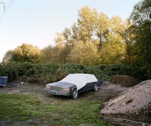 cadillac, car, junk, trees, british columbia, canada, dirt, junkyard, tarp, old, 6x7, film, color, kodak, travel
