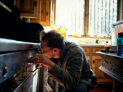 Contemporary Photography, Fine Art Photography, ©Eric Thompson , gas stove, kitchen, man, oven